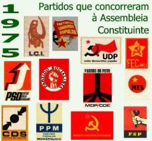 Partidos nas eleições de1975
