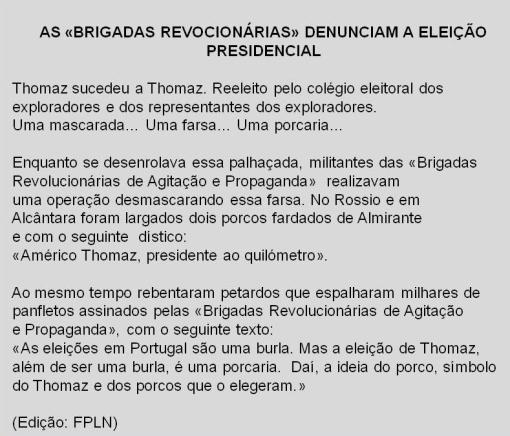Comunicado BR's Porcos 1972