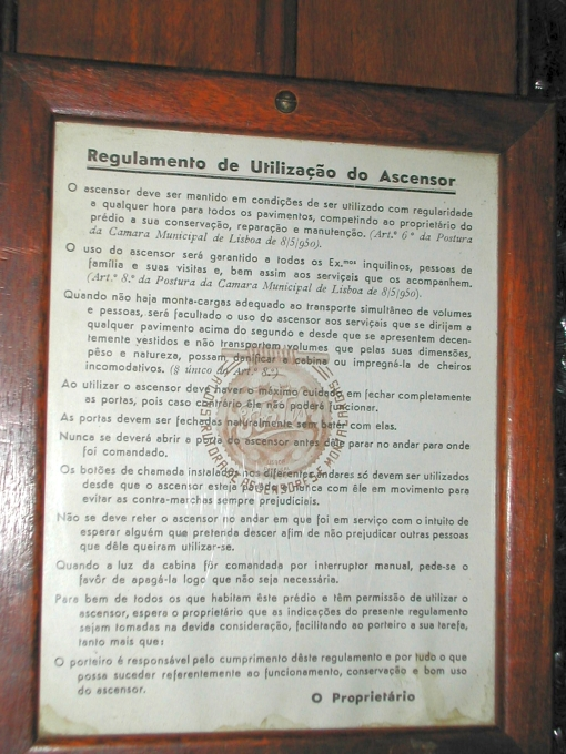 regulamento ascensores